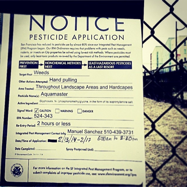 Pesticide application notice image